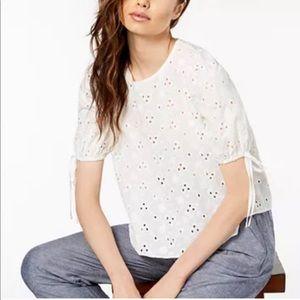 Jill Stuart Eyelet Lace Crop Top Blouse Small